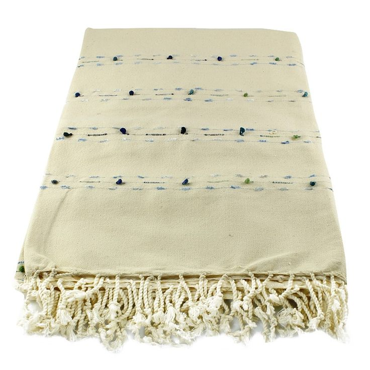 LARGE NATURAL HANDMADE TABLE CLOTH WITH POM POM, 005