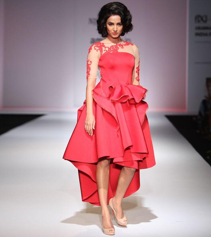 Red Foam & Net #Dress