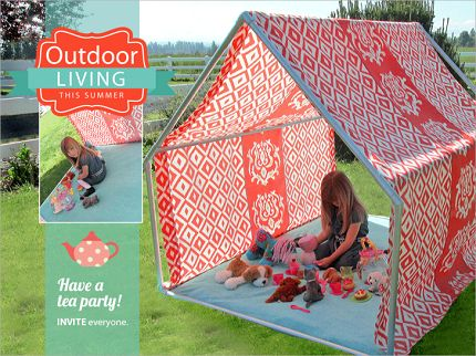 Allow your kids to experience the adventure of a campout or a tea party in their own beautiful camp. The frame is of PVC pipes and the use of outdoor fabric has been done to enhance the durability.