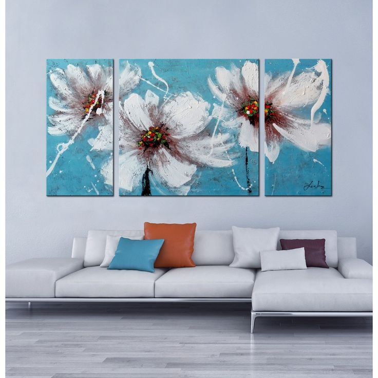 Hand-painted 'Heaven Blue' 3-piece Gallery-wrapped Canvas Art Set - Overstock™…