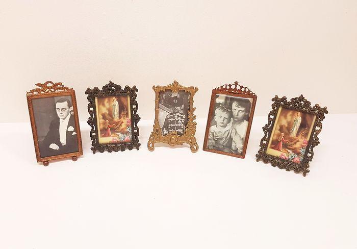 Vijf antieke koperen fotolijstjes - Frankrijk ca. 1950