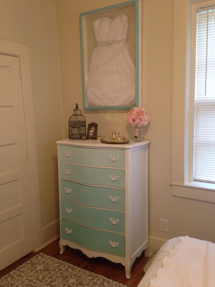 Teal Ombre Dresser And Wedding Dress Shadow Box