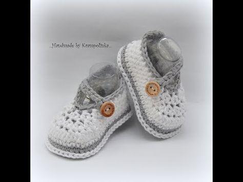 Háčkované botičky Crochet baby booties - YouTube