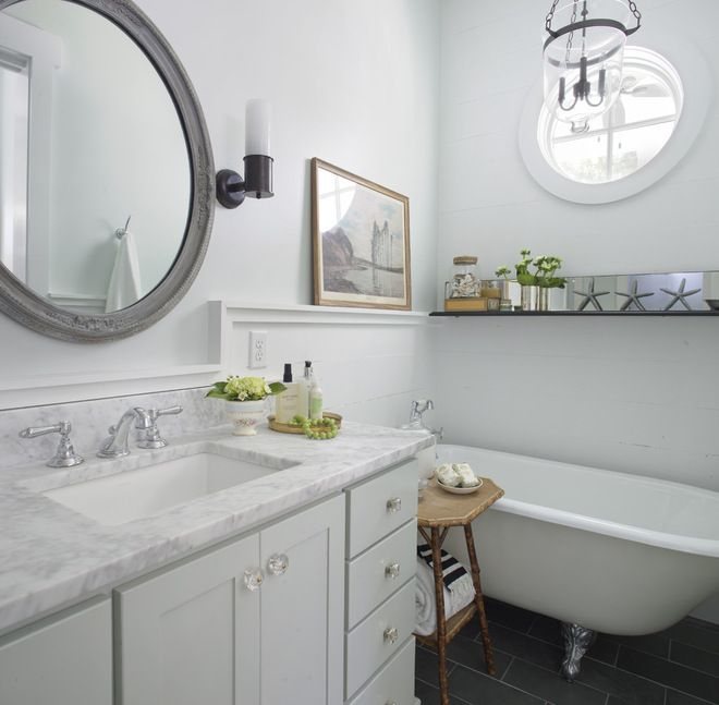 beach style bathroom by Joel Snayd  Mixing Fixture colors