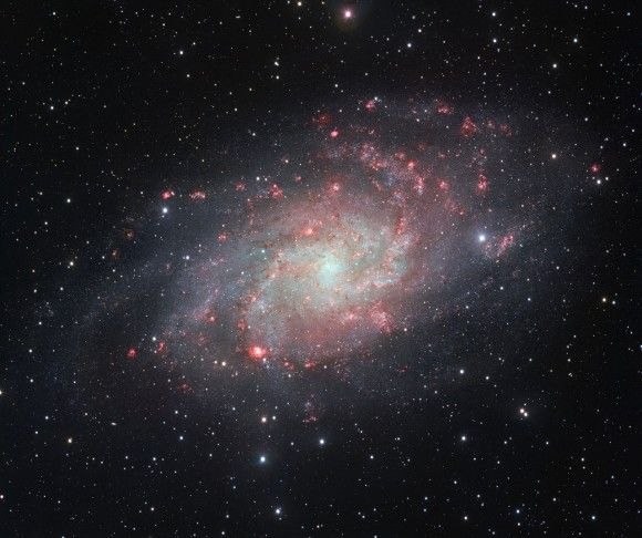 This face-on spiral galaxy – Messier 33 aka M33 – is the second-closest spiral to our Milky Way at 3 million light-years away. Image credit: ESO