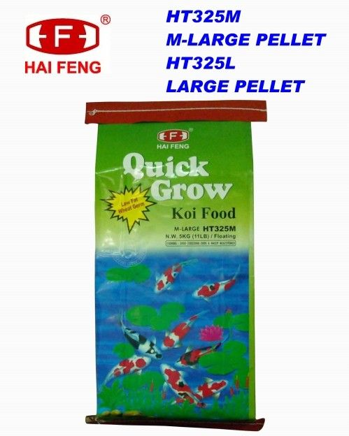 Hai Feng Quick Grow Medium Pellet  QUICK GROW contains wheat germ which will help your Koi grow at a faster rate.  Quick Grow Ingredients: Wheat germ meal, White fish meal, Shrimp meal, Spirulina, Soybean meal, Dried sour whey, Dehydrated alfalfa, Brewers dried yeast, Various vitamins and minerals.  Quick Grow Guaranteed Analysis: 32% min. Crude Protein, 4% min. Crude Fat, 4% max. Crude Fiber, 10% max. Moisture, 16% max. Ash.