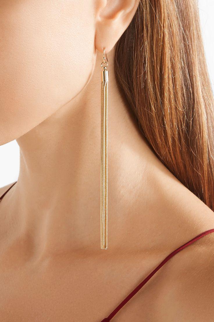 Kenneth Jay Lane | Tasseled gold-plated earrings | NET-A-PORTER.COM