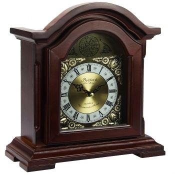 Bedford Clock Collection Redwood Mantel Clock with Chimes - myaccessoryguy
