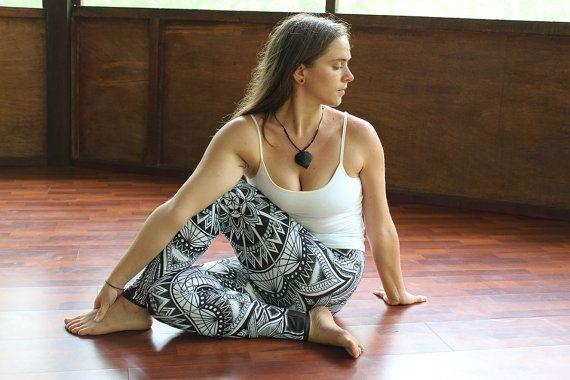 Cosmic Mandala Leggings Women's Black And White by KorvinKustoms