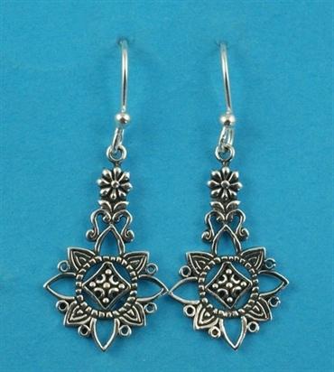 £25.00 incl tax  Sterling silver flower design drop earrings.  Approx 3.8cm long.