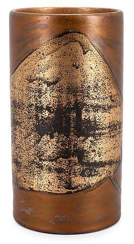 Toini Muona; Poured Glaze Ceramic Vase for Arabia, 1960s.