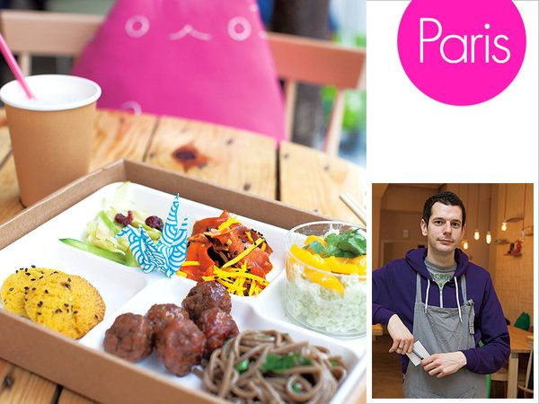 航空会社でスチュワードをしていたリオネルは仕事で来日した際に、弁当に感銘を受け、昨年12月、パリでフランス人向けの弁当店をオープンさせた。カウンターには、和食の影響を受け野菜中心で軽めの料理が多く並ぶのも特徴。「芋のガレットは沖縄の料理からヒントを得たんだ」とリオネル。弁当に入るおかずは「メイン」、「副菜」がふたつ、「デザート」と、4つのカテゴリーに色分け。各カテゴリー2~7種類の料理のなかから、好きなもの1~2種類チョイス。バラエティ豊かな料理を好きに組み合わせられるスタイルが、人気の秘密だ。