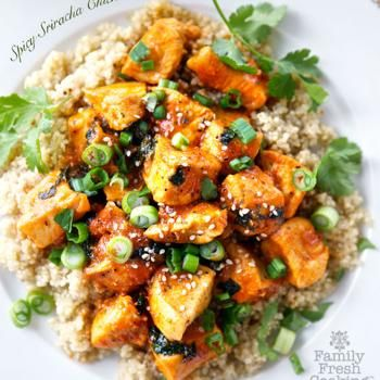 Spicy Sriracha Chicken - this just sounded so good, perhaps tofu could be substituted for the chicken