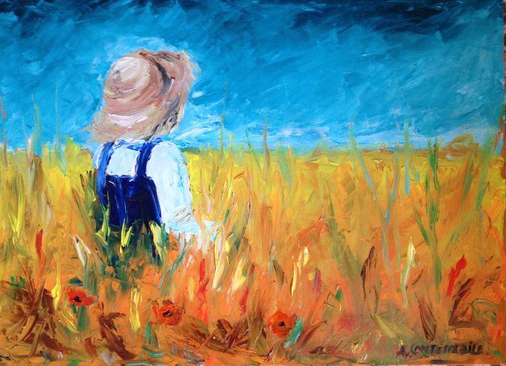 Bimbo in campo di grano