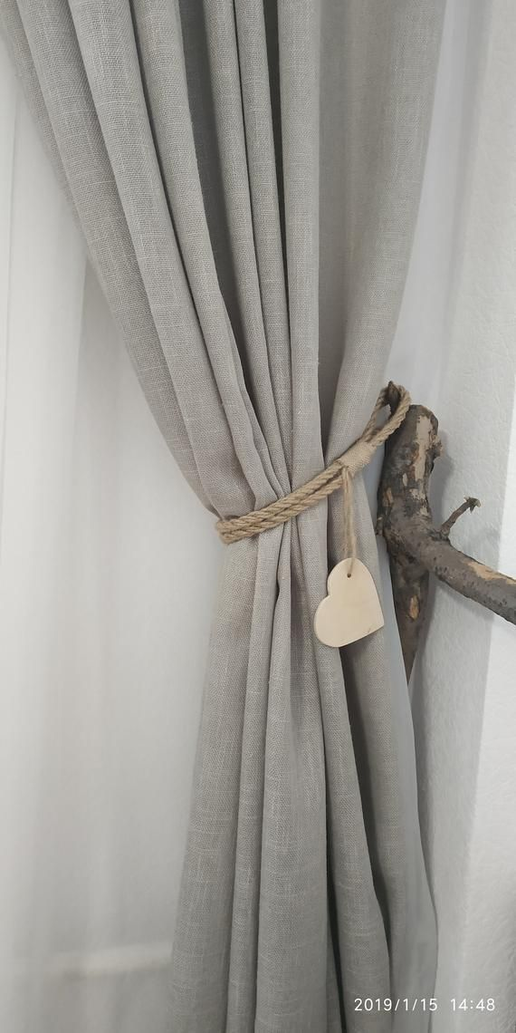 Rope Curtain Tie Backs With Wooden Heart Nursery Curtain Tie Back