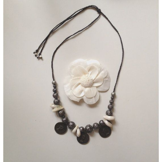 Coins filigree beads and cowrie shellshandmade by SuryaSoul, €25.00