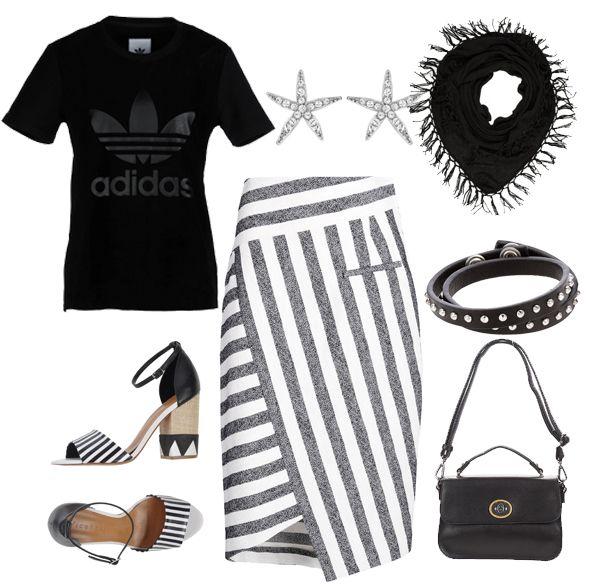 Camiseta de Adidas Originals, pendientes con forma de estrella de Swarovski, pañuelo negro con flecos de Bloom, falda lápiz a rayas de Altuzarra, sandalias con pulsera a rayas de Vicenza, pulsera de cuero negro y piedras blancas de Diesel y bolso bandolera de Benetton.