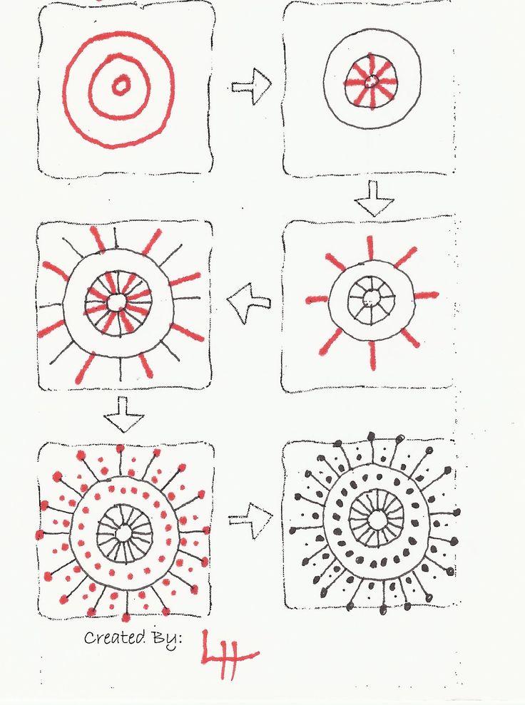 Durf je wel... de pijlen te volgen en stap voor stap deze stralende zentangle te tekenen?
