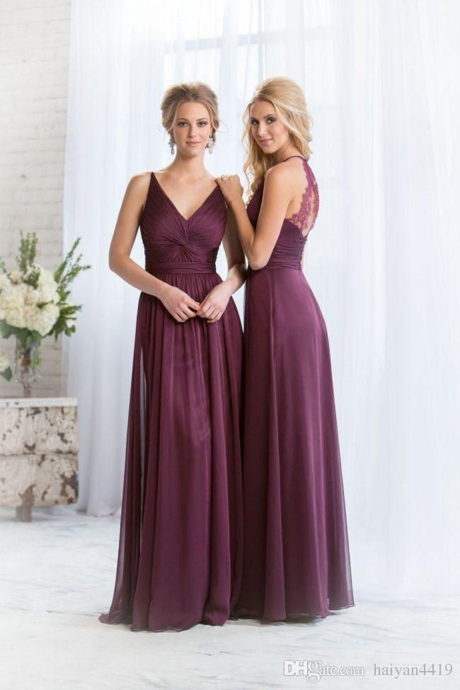 2016 Long Plum Bridesmaid Dresses V Neck Lace Appliques Chiffon Floor Length Wedding Guest Wear Party Dress Plus Size Maid of Honor Gowns Long Bridesmaids Dresses Lace Bridesmaid Dresses 2017 Bridesmaids Dresses Online with 100.58/Piece on Haiyan4419's Store   DHgate.com
