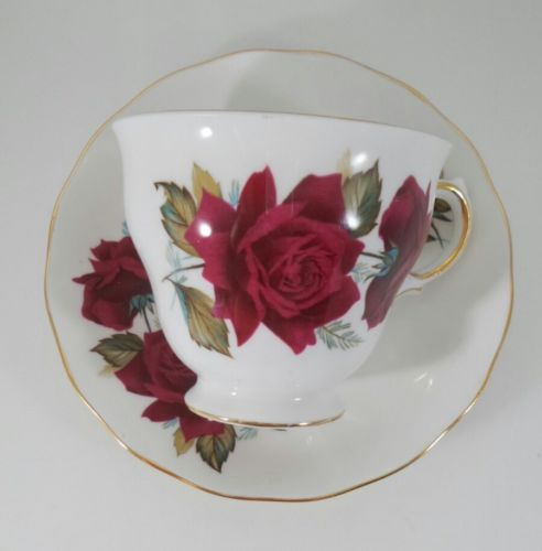 Royal Vale Red Burgundy Country Roses Vintage Teacup Saucer tea set English