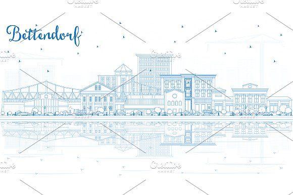 #Outline #Bettendorf #Iowa #Skyline by Igor Sorokin on @creativemarket
