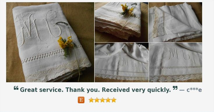 Victorian Flat Sheet White French Linen and Lace Handmade Ladder Work Monogram Medallion  https://www.etsy.com/listing/242958087/ …