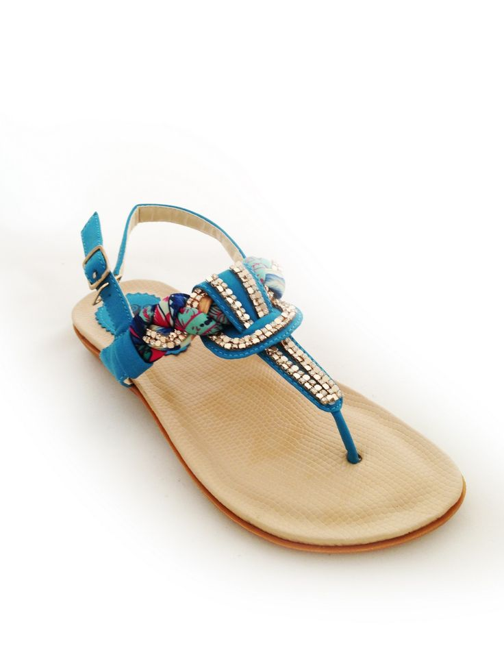 Sorrento Sandal is ocean blue. Super soft this shoe is great for walking during hot summer days and nights. #kmjshoes