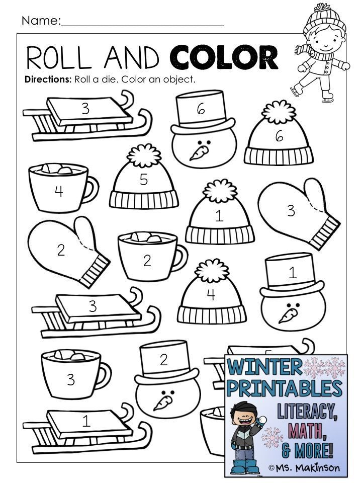 Winter Printables Literacy Math Science Winter Kindergarten Winter Printables Winter Math Worksheets Winter theme worksheets for preschoolers