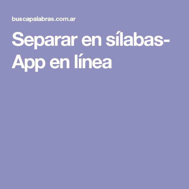 Separar en sílabas- App en línea