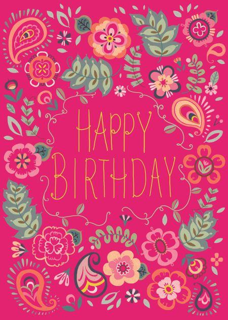 Pimlada Phuapradit Paisley Floral Birthday Card Pink Happy Birthday Happy Birthday Floral