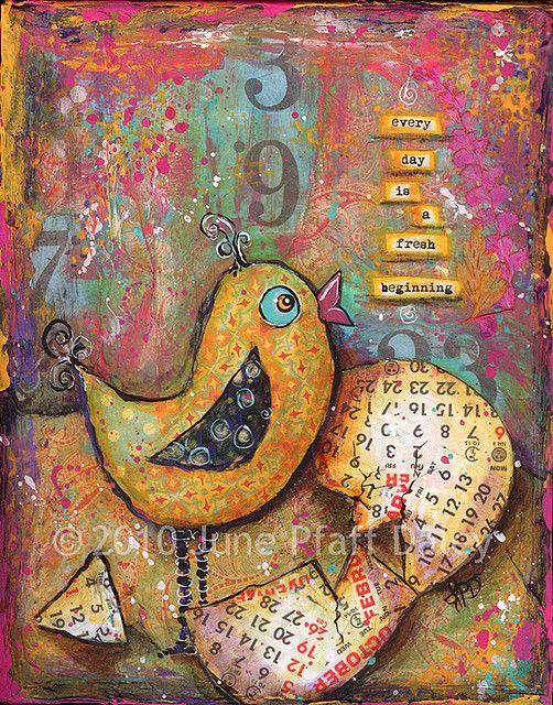 each day a fresh beginningBirds Art, Birds Painting, Pfaff Daley, Art Journals, Media Art, Art Photos Prints Sculpture, Mixed Media, Collage Mixmedia, June Pfaff