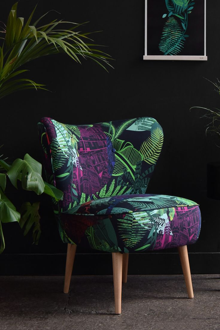 The ultimate botanical chair!  A brand new Florrie + Bill cocktail chair upholstered in 'Sheffield Evening Fabric' by designer illustrator Harriet Popham. Perfect for dark interiors, conservatories or funky bedrooms.