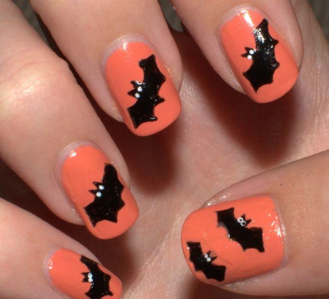 Orange & Bats Nail Art