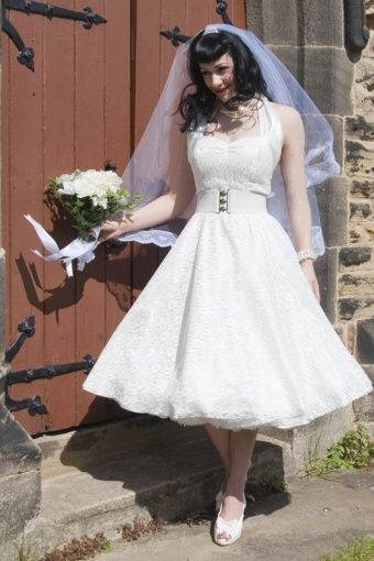 1950s Retro Jurken - halter luxury White Satin Lace swing dress wedding dress
