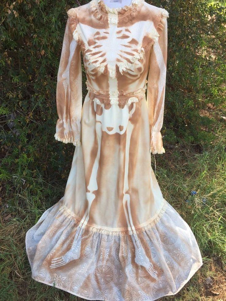 Vtg skeleton bride old west wedding dress costume 70s dead for Corpse bride wedding dress for sale