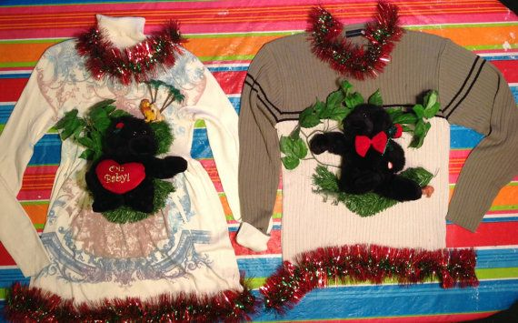 """Gorillas singing """"I Got You Babe""""!  Matching Christmas Sweaters for Couples"""