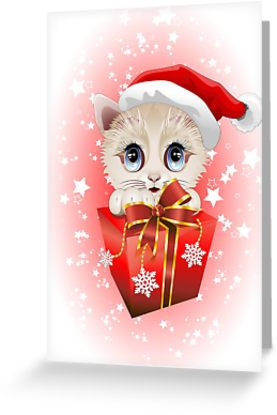 #Kitten #Christmas #Santa with #Big #Red #Gift #Greetin #Cards - by BluedarkArt   http://www.redbubble.com/people/bluedarkart/works/10805112-kitten-christmas-santa-with-big-red-gift?p=greeting-card