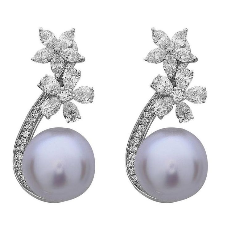 Pearl Diamond Gold Floral Earrings   From a unique collection of vintage drop earrings at https://www.1stdibs.com/jewelry/earrings/drop-earrings/