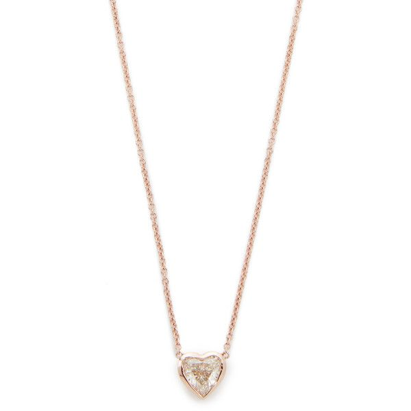 Shay 18k Gold Diamond Solitaire Heart Necklace (342,330 PHP) ❤ liked on Polyvore featuring jewelry, necklaces, rose gold, 18k gold necklace, 18k gold pendant, gold heart pendant, pendant necklaces and heart necklace