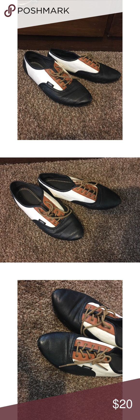 Vans oxfords Good condition • Vans brand • lace up with black, brown, white leather Vans Shoes Flats & Loafers