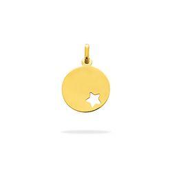 Médaillon Rond Étoile Ajourée Or Jaune - 0.85 g