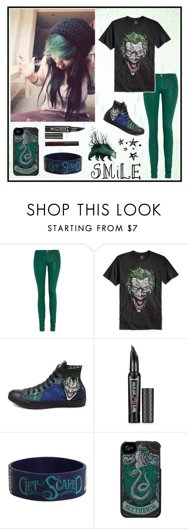 """Let's put a smile on that face."" by carissa-chaos ❤ liked on Polyvore featuring Current/Elliott, Bioworld, Converse, Benefit and NARS Cosmetics"