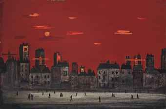 FRED UHLMAN (1901-1985)  Town Under Red Sky