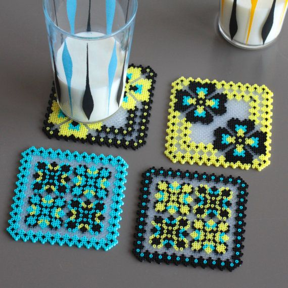 4 Glass Coasters handmade thousands of ironed beads slavic embroidery inspiration yellow blue black x 4 pansy rose window
