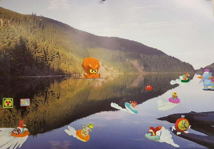 """September 2017_Altered Art_Wall Calendar_dF """"DiddyKong Racing_Wolf Lake"""""""