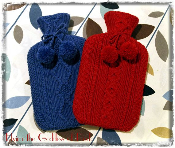 1.5L Hot Water Bottle with Hand Knitted Cozy/Cover by ElviraTGOR, £23.99