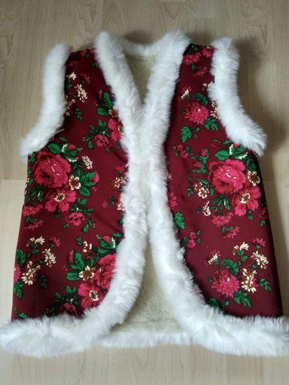 Sheep Wool Sheepskin Women's Ukrainian Vest Jacket Coat