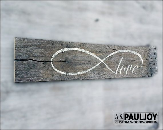 LOVE INFINITY. Hand Painted Sign on Recycled Rustic by ASPauljoy