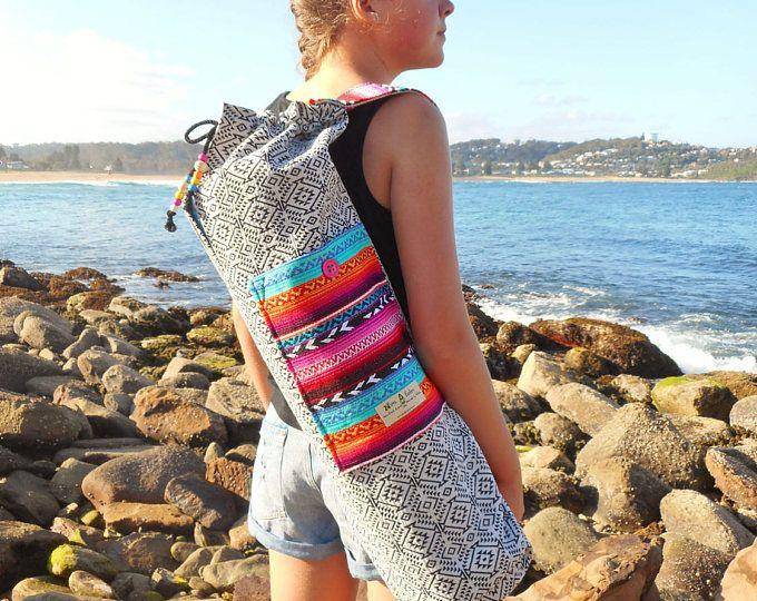 Yoga mat tas - Mexicaanse deken & Azteekse textiel - Pocket, beaded trekken string, veel speling - prachtige tas - handgemaakt in Australië.