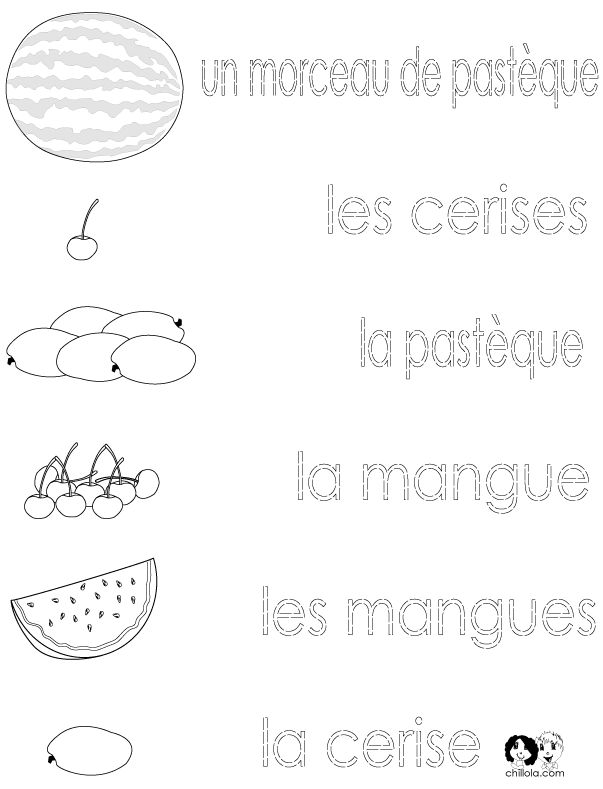 French printouts for Children - Fruit - 2
